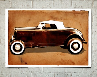 Car Art - Hot Rod - Auto Art, vintage car, Automobile Art, Automotive Decor, Ford, Man Cave Art, Car Gift, Art Print, Garage Art