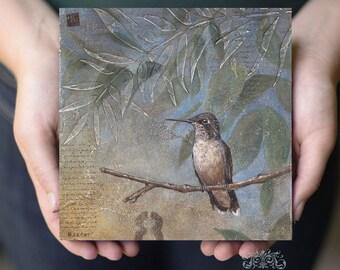 Hummingbird Art Print on Wood Panel, Bird Art, Bird Painting, Housewarming Gift Ideas, Hummingbird Art Print, Humming bird Art, Wall Art