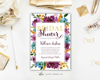 Bridal Shower Invitation, Purple Bridal Shower Invite, Bridal Brunch, Watercolor Floral Bridal Shower Invitation, Wedding Shower Invitation