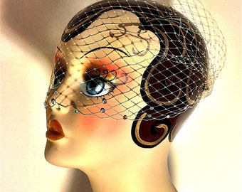 Wedding Veil with Swarovski Pearl Edge, Bandeau Birdcage Veil Comes in Red, Yellow, Ivory, White, Champagne and Black