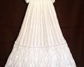 Elegant Baptismal Gown, Elegant Christening Gown, White Baby Gown With Slip, Long Baptismal Gown, White Crocheted Baptismal Gown, Baby Gown