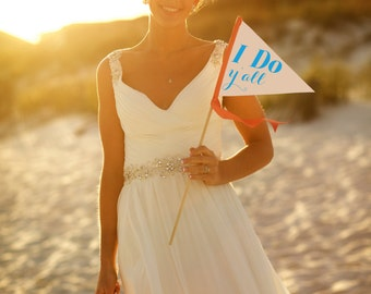 "Funny Wedding Sign ""I Do, Y'all"" Country Wedding Banner Small Bridal Party Wedding Ceremony Photo Prop Flag Pennant Modern Script 1140 SPW"