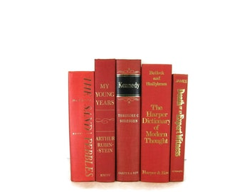 Red Decorative Books , Vintage Photo Props , Wedding Table Setting , Vintage Wedding Decor