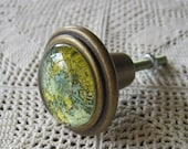 Map Antique Brass and Resin Drawer Handle Knob Pull