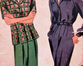 Vintage Simplicity 4754 Sewing Pattern, Rosie the Riveter, 1940s Pants Pattern, Bust 36, World War II Pattern, Slacks and Blouse Pattern