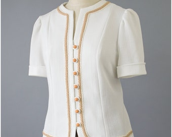 60s Blouse - White Blouse w/ Brown Trim - Puff Sleeve Blouse - Jackie O Short Sleeve Day Blouse - Secretary Blouse - 1960s Blouse