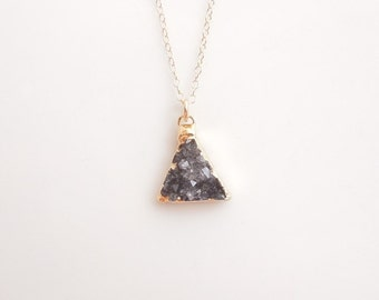 Black Druzy Necklace in Gold - Triangle Necklace