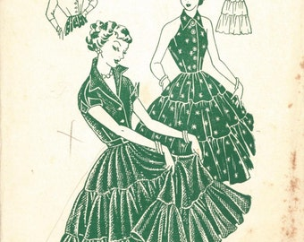 Rare 1950s Bombshell Evening Dress (with halter neck option) and bolero, Pauline Sewing Pattern 3480 size 32