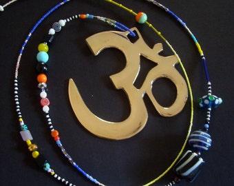 AUM symbol on a glass beaded string, meditation tool, copper Aum from India, Aum, Aum mobile, Om mani padme hum, Indian mantra, spirit