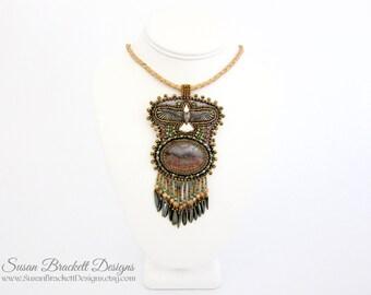 Beaded Eagle Necklace Native American Eagle Pendant Statement Jewelry Boho Chic Bohemian Southwestern Western Prudent Man Agate Cabochon