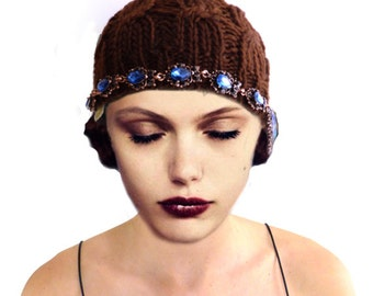 Retro Brown Hat, Flapper Hat, Crochet Hat, Brown Knit Hat, 1920s Hat, Great Gatsby, Brown Cloche Hat, Blue Sapphire Hat, Woman, Gift For Her