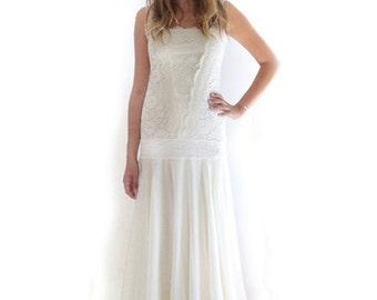 Flapper Wedding Dress, Lace Wedding Dress, Retro Great Gatsby Dress, Simple Wedding Dress,20s Dress,1920s Dress,Woodland Wedding,Roaring 20s