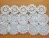 15 White Vintage Crochet Doily Medallions, Small Doilies, 2.5 to 3 inch size