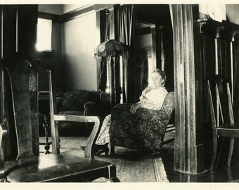 """Antique Photo """"The Ghost on Anderson Lane"""" Spooky Creepy Lady Sitting Chair Interior House Halloween Supply Odd Weird Woman Picture - 12"""