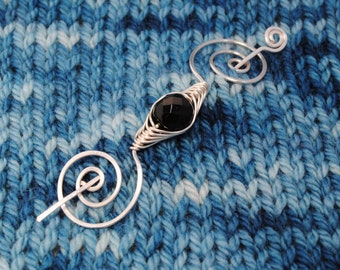 Black Beaded Shawl Pin in Silver Wire