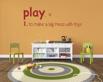 Play Definition - Playroom Vinyl Wall Decal Vinyl Lettering Wall Words Decal Kids Room Decor Vinyl Wall Art