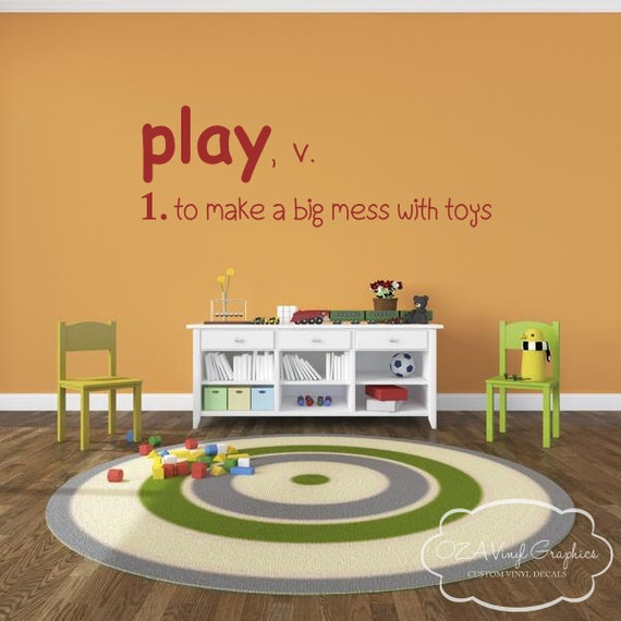play definition playroom vinyl wall decal by ozavinylgraphics