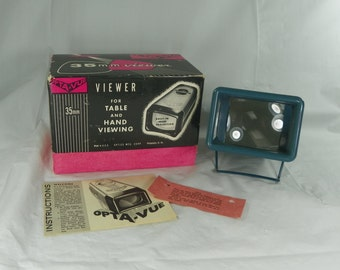 VINTAGE 1960s Opta Vue 35 mm Slide Viewer with Original Box Instructions Mothers Fathers Day Gift OptaView OptaVue Slides 35mm Mothers Day
