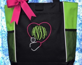 Nurse Tote Monogrammed Initials Stethoscope Personalized Nurse's Day Gift