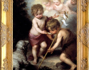 St John the Baptist with Christ Child Art Print, Framed, Murillo, Print on Canvas