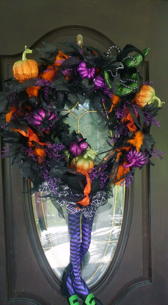 Fall Wreath , XL Halloween Wreath , Door Wreath ,  Witch Wreath , Front Door Wreath , Outdoor Wreath