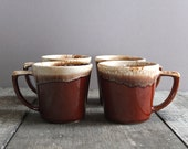 Vintage McCoy Drip Glaze Mugs - Set of 4 / McCoy Coffee Cups / Made in USA