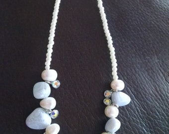 Blue chalcedony pearl and crystal necklace 18""