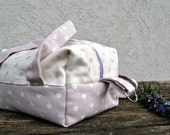 Cosmetic Bag Case beauty set organizer pouch in romantic polka dot lilac and cream fabric with handles, Toiletry bag handmade in Italy