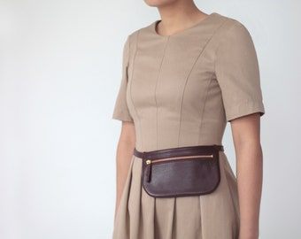 Fanny Pack, Flat Belt Bag Bordeaux Leather, Hip Bag, Hip Poch, Travel Bag, Festival Bag Dark Red Leather
