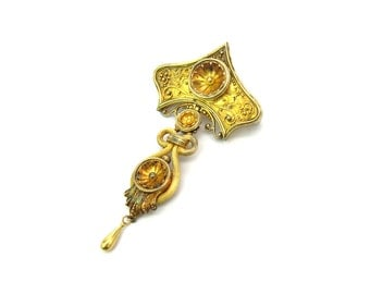 Victorian Brooch. 14K 18K Gold Etruscan Revival Jewelry. Antique Articulated w/ Tear Drop Dangle. Mid Victorian Grand Period 1800s Jewelry.