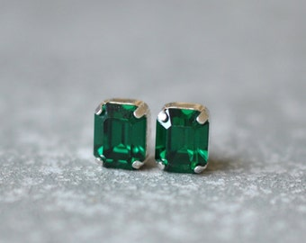 Emerald Earrings Bridal Earrings Bride Swarovski Crystal Diamond Studs Emerald Cut Earrings Super Sparklers Vintage Mashugana