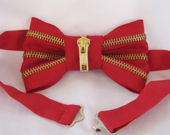 Red Bow Tie with Brass Zipper (Free Shipping!)
