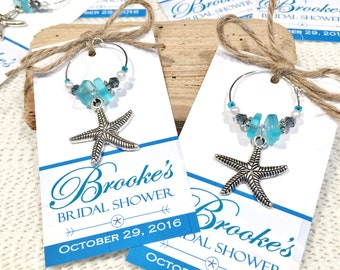Beach Bridal Shower Favors, Beach Wedding Favors Starfish Wedding Personalized Favor Tags Wine Charms Personalized Bridal Shower Wine Charms