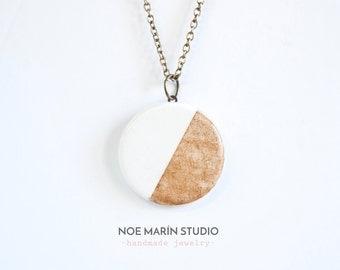 Modern ceramic pendant jewelry, Natural jewellery, Delicate minimalist necklace jewellery, Handmade bohemian jewelry, Charm necklaces