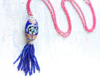 Pink and Blue Necklace - Cloisonne and Tassel - Boho Jewelry