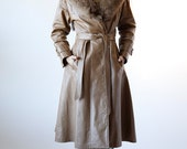 Vintage 70s Lillie Rubin Designer Leather Retro Trench Coat with Fox Fur Collar Size 14 Large - FREE SHIPPING U.S Only