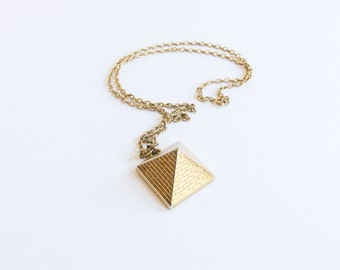Vintage Pyramid Necklace / Gold / Talisman Guild / Numbered / Egyptian / 1976 / Hidden Compartment