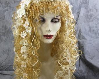 Bohemian Fairy - Blonde Full Wig, w/ Bead & Horn Headpiece Costume Renaissance  BOHO LARP Gypsy