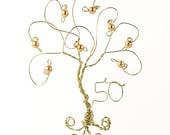 50th Anniversary Ornament Golden Anniversary Tree Keepsake Gift Decor Wire Ornament