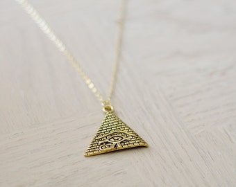Egyptian Pyramid Necklace - Gold Layering Necklace - Eye of Horus