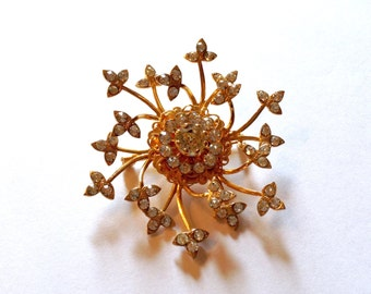 Rhinestone Spray of Beauty Brooch Vintage Fashion Retro Jewelry
