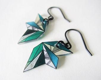 GEOMETRIC dangle earrings // blue and green drop earrings, jewelry, colorful jewellery