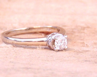 14K Diamond Solitaire Ring, Engagement,Wedding, White Gold