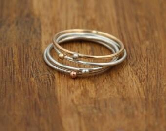 Gold Dot 1 mm Stacking Ring Set - Gold Bead Stacking Ring Set - Skinny Stacking Rings - Gold & Silver Stacking Rings