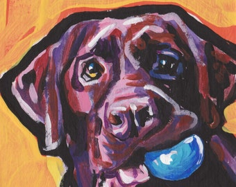 chocolate lab Labrador Retriever Dog art print pop art 13x19 inch