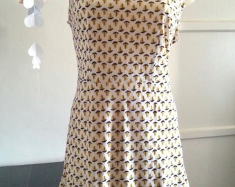 Sailboat print dress vintage 60s 70s size medium large