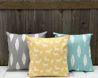 Throw Pillow-Feather, Deer,  Modern  Nature Pillow, Home Decor, Throw Pillow