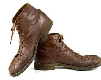 1940s RARE Walkers Lace To Toe Pan Cord Sole Monkey Toe Work Boots Mens 5 Womens 7.5