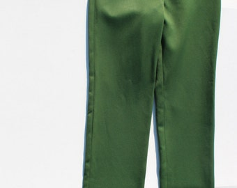 Vintage Green Trousers pants -Fitted Small Size - high waist