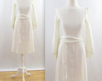 Vintage 1970s Winter White Knit Dress in Small by Dominique